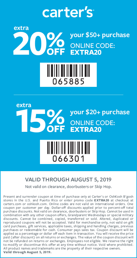 Coupon Codes Promos Printable Coupons Carter S