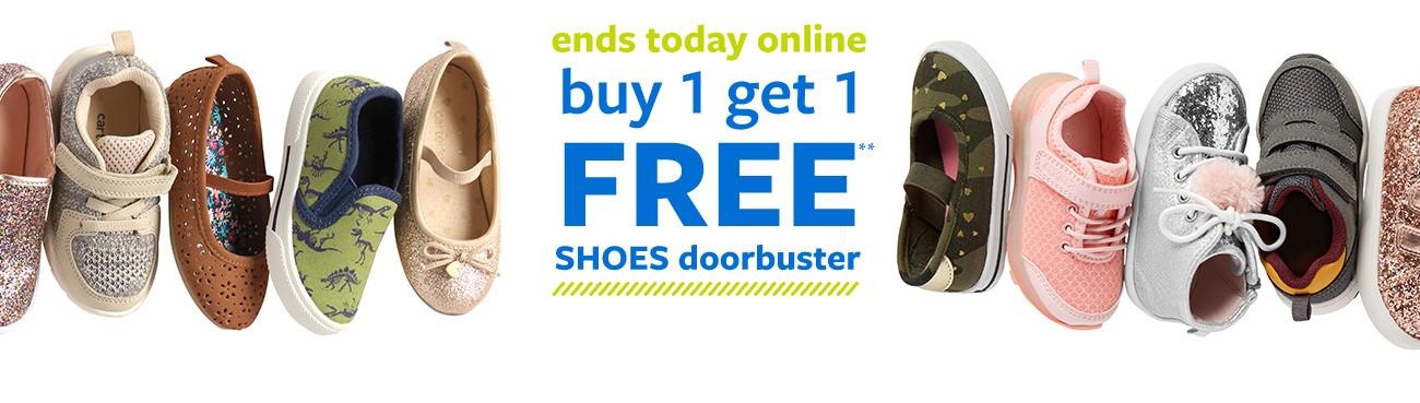ends today online | buy 1 get 1 free shoes doorbuster