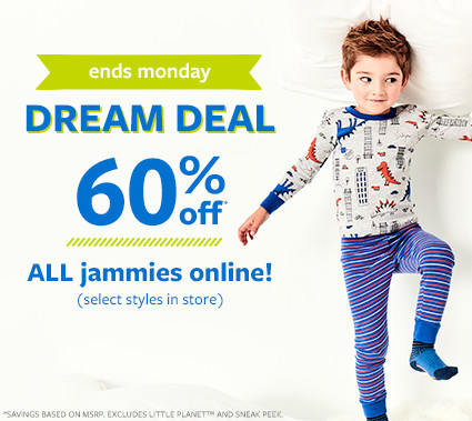 ends monday | dream deal 60% off msrp all jammies online
