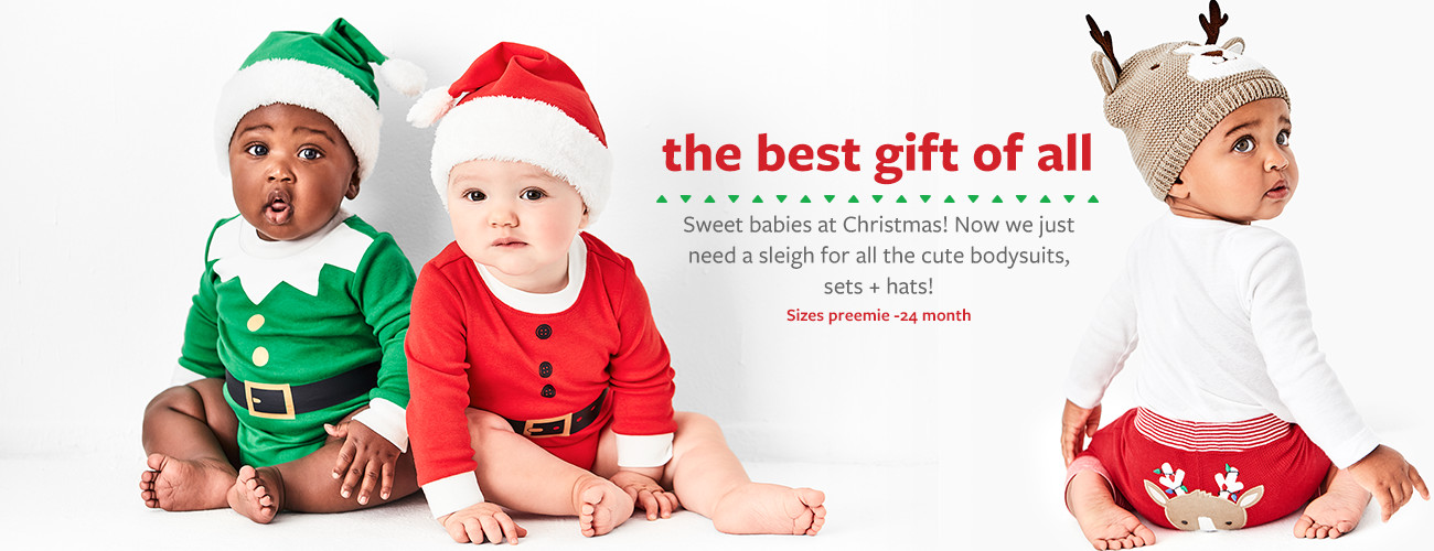 the best gift of all | Sweet babies at Christmas! Now we just need a sleigh for all the cute bodysuits, sets + hats! Sizes preemie-24 month