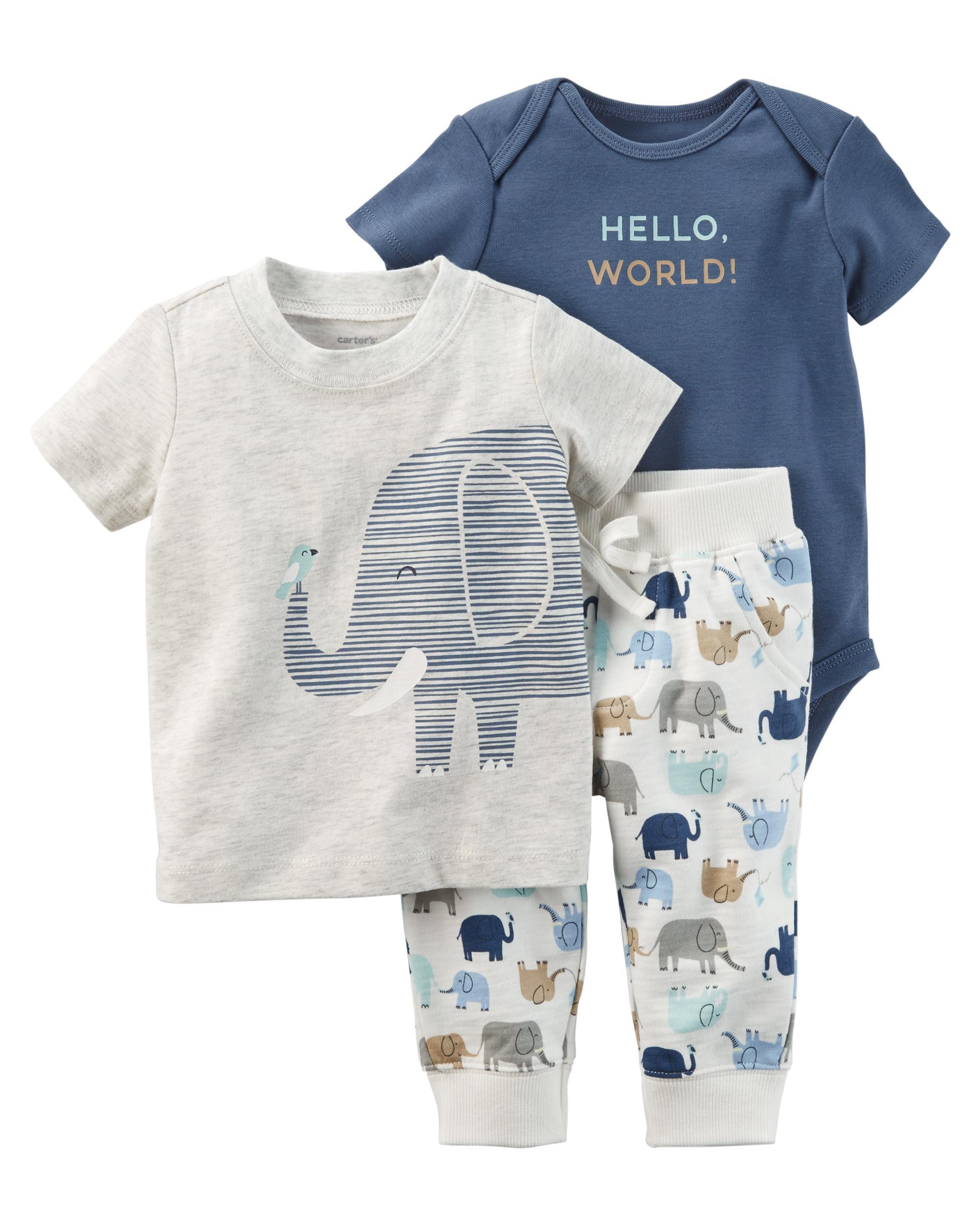 8d0bfbd5c 3-Piece Elephant Babysoft Bodysuit Pant Set | carters.com