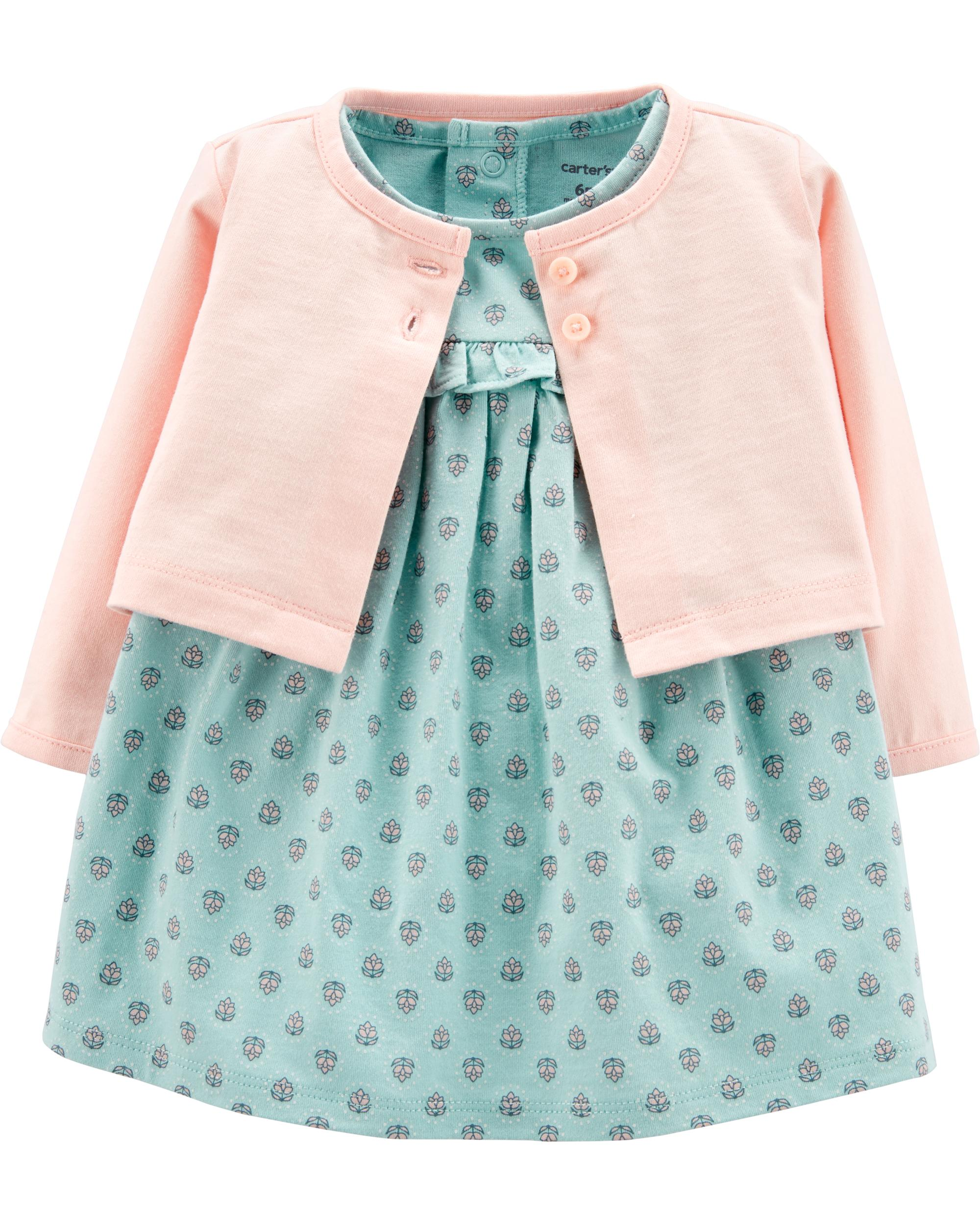 2d7ef1f92b566 2-Piece Flutter Bodysuit Dress & Cardigan Set | carters.com