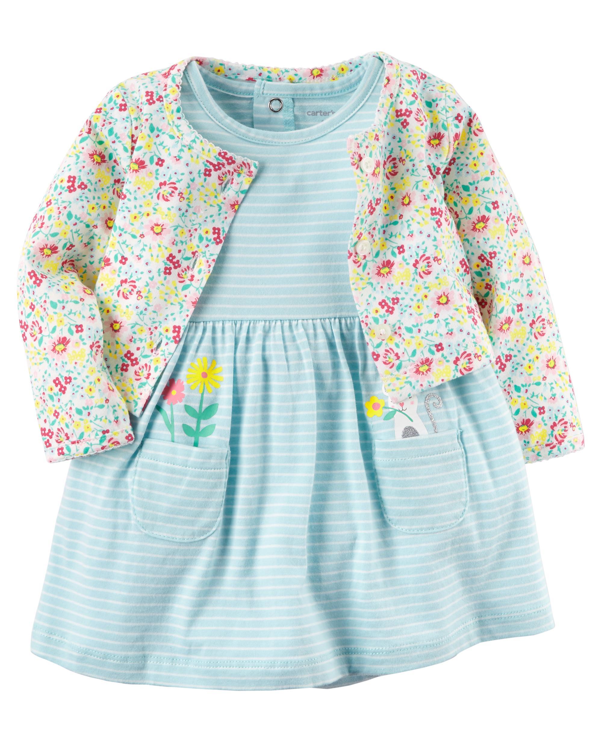 Carter/'s 2-Piece Dress /& Cardigan Set