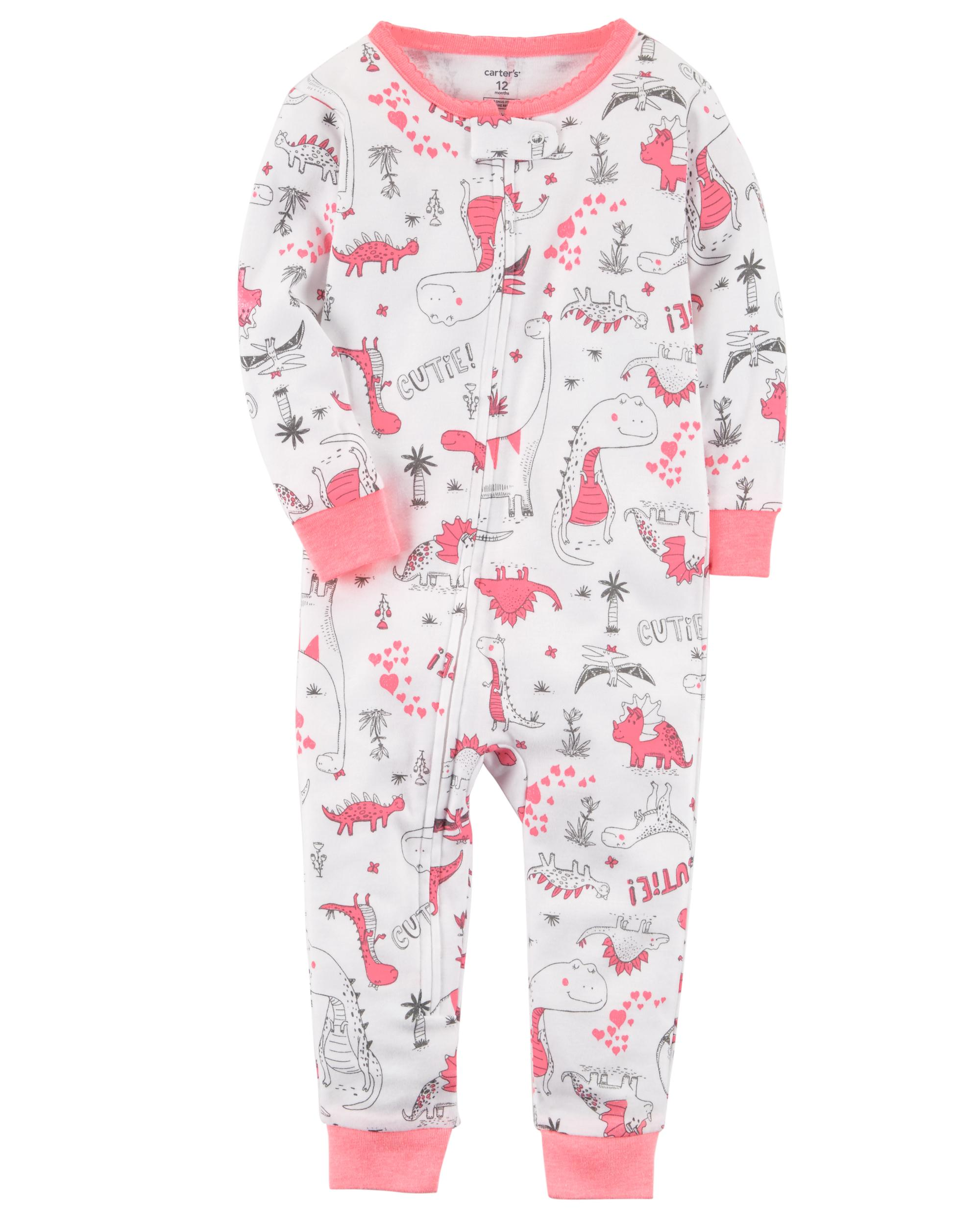 One-Piece Pajama Carter/'s Toddler Girls Cotton Footless Dinosaur Sleeper