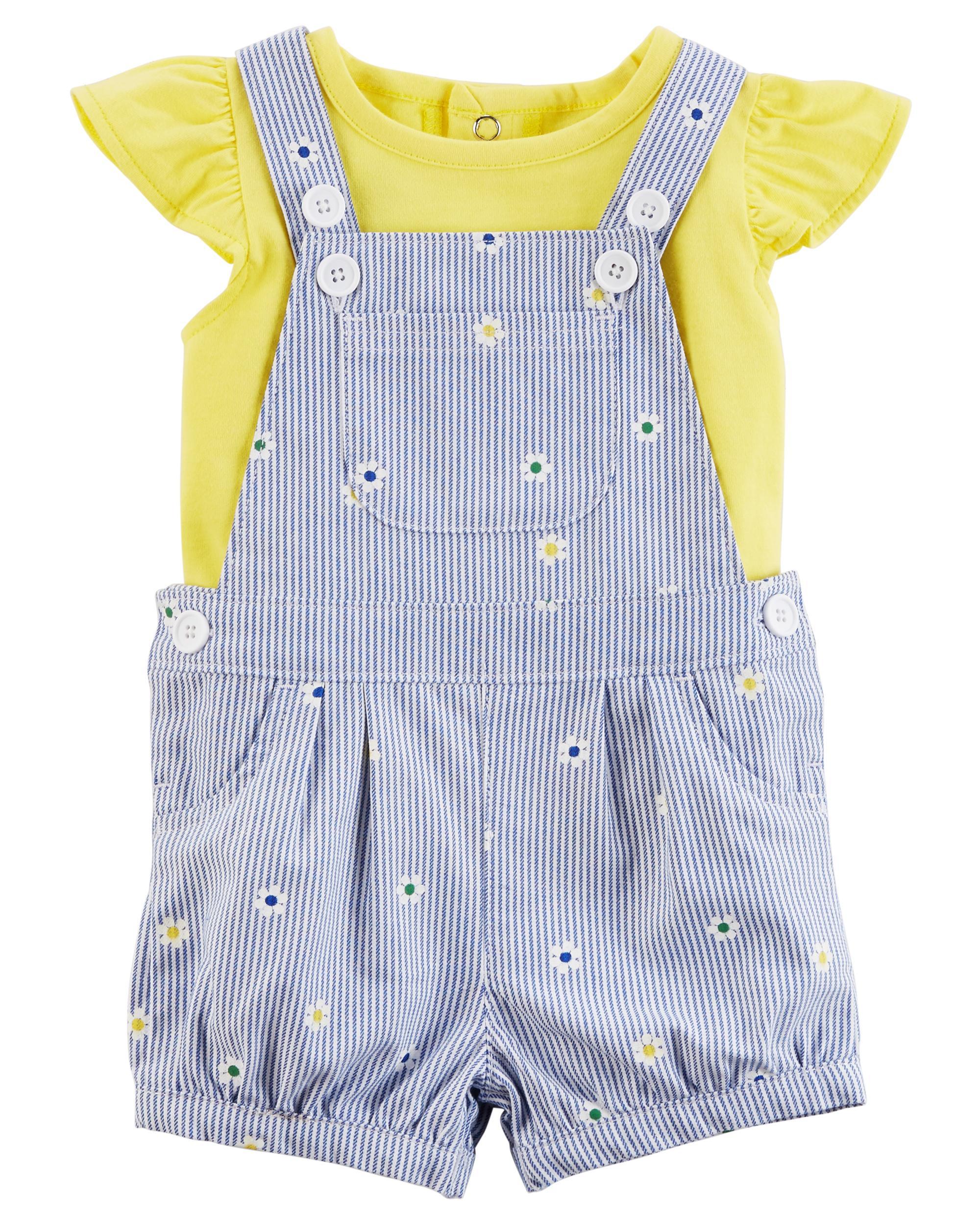 Carters Baby Girls 2-Piece Top /& Shortalls Set Super Sweet