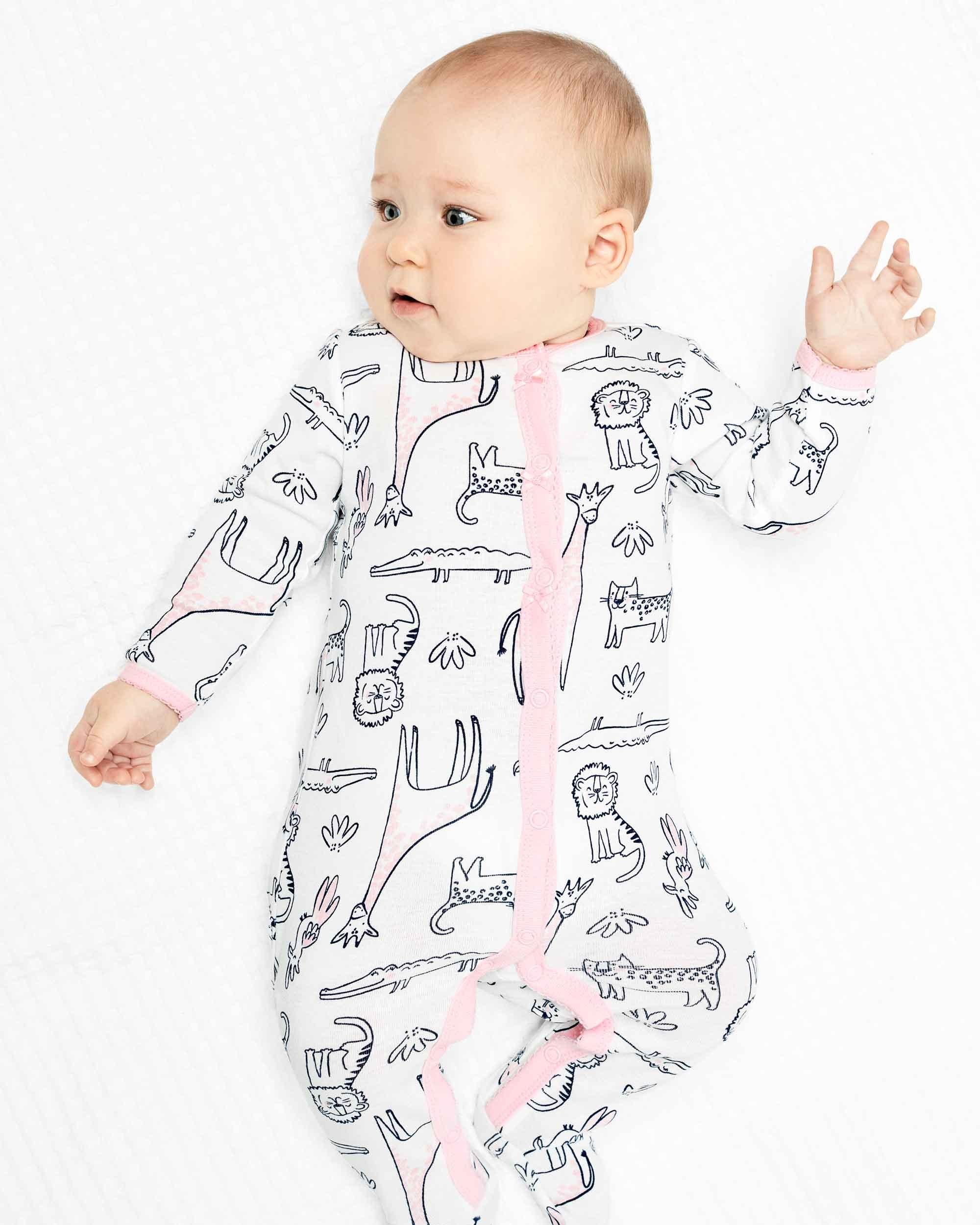 Safari Themed Snap Up Cotton Footless Sleep And Play Size 6 Months
