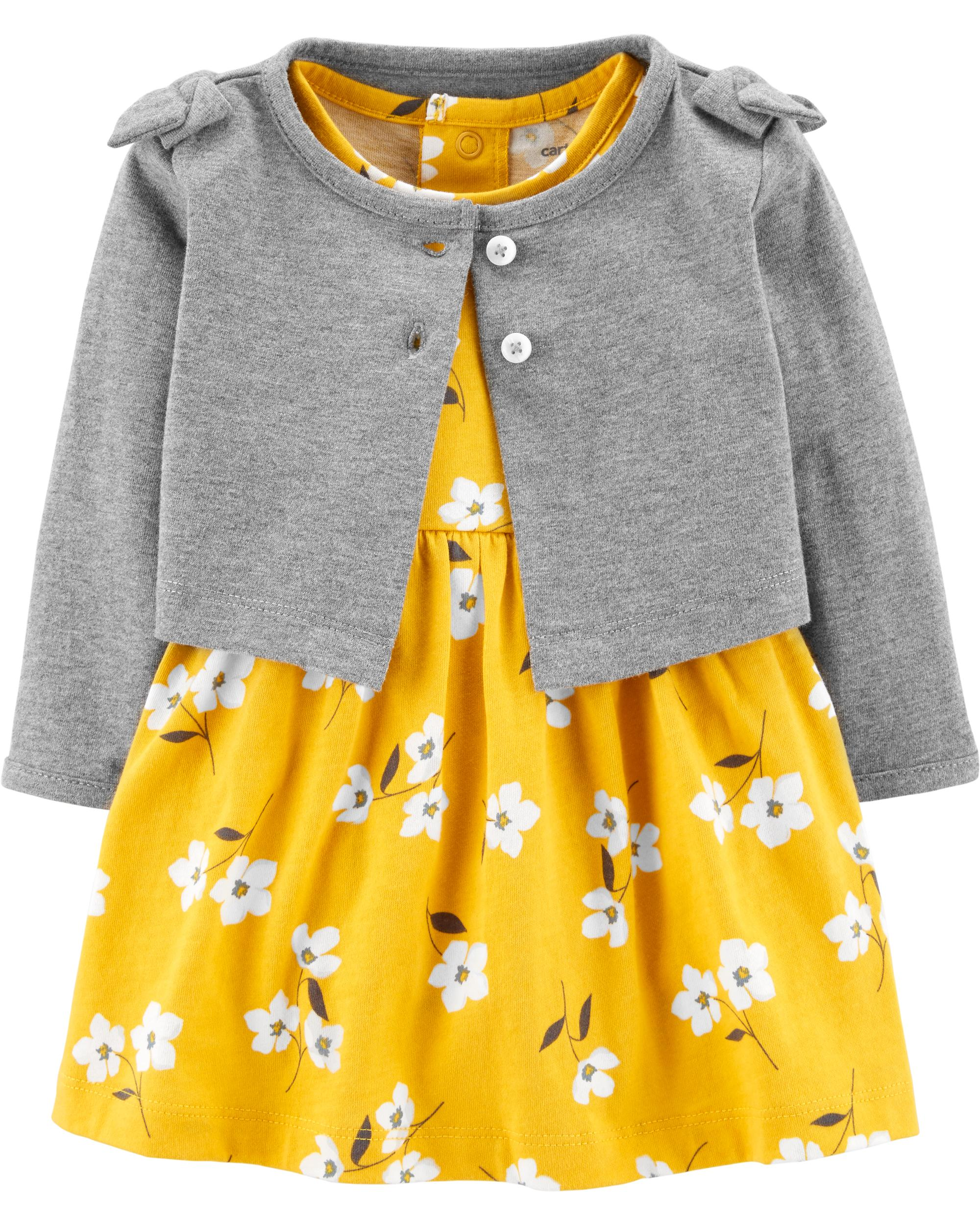 10625f65721d3 2-Piece Floral Bodysuit Dress & Cardigan Set | carters.com