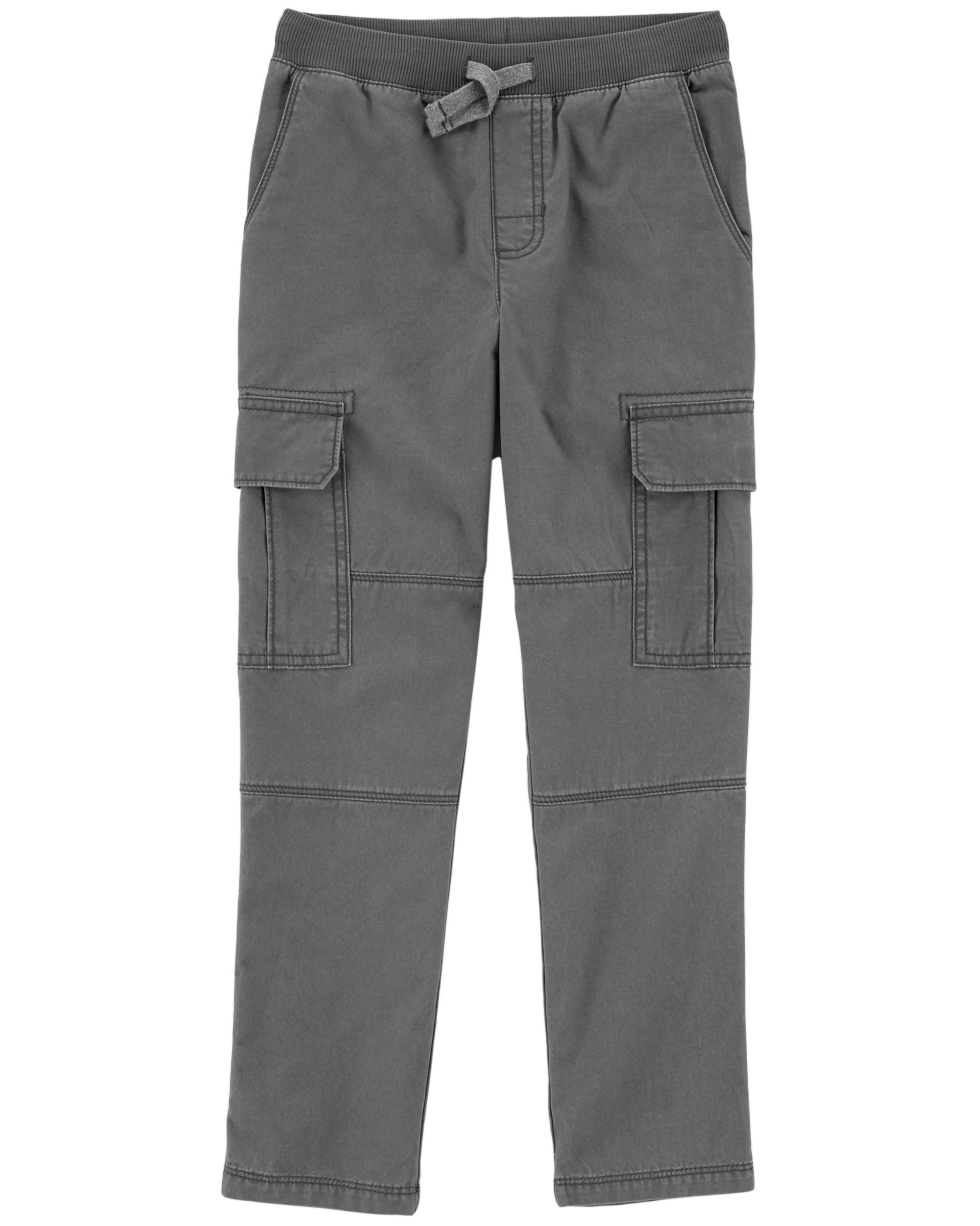 Carters Boys Jersey-Lined Utility Pants; Olive 3M