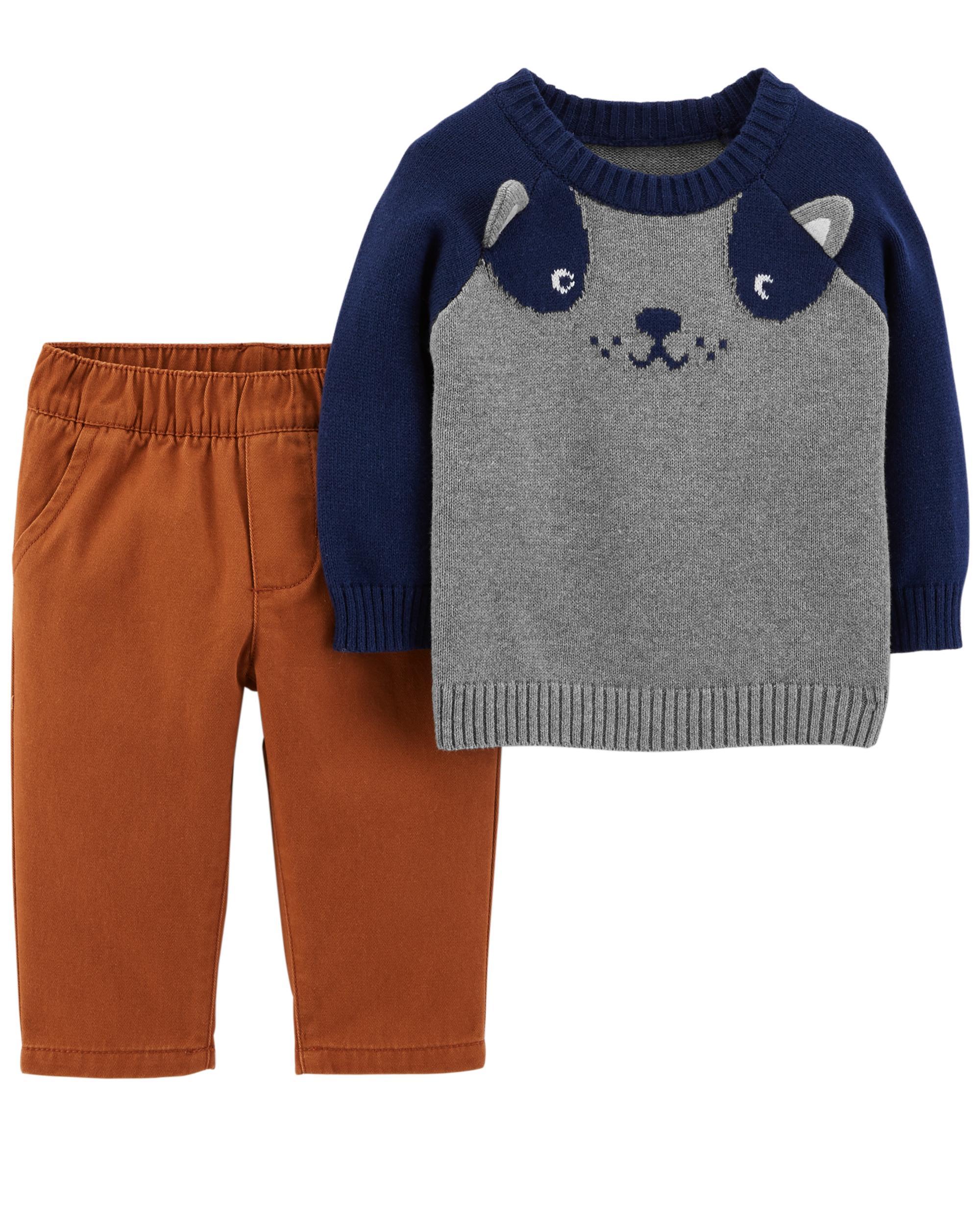 77224714f1 2-Piece Dog Sweater & Twill Pant Set | carters.com