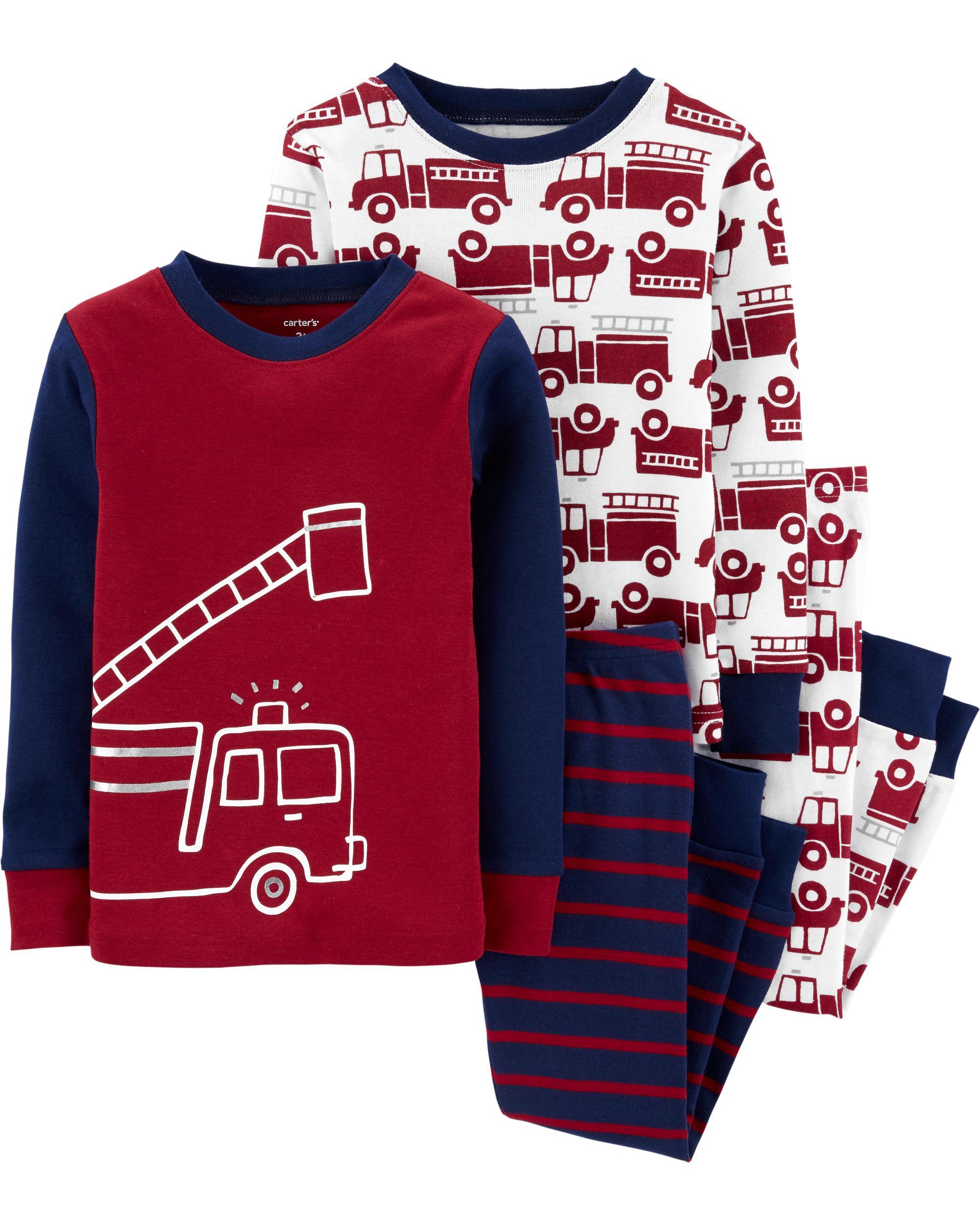 Carters 4-Piece Football Snug Fit Cotton PJs