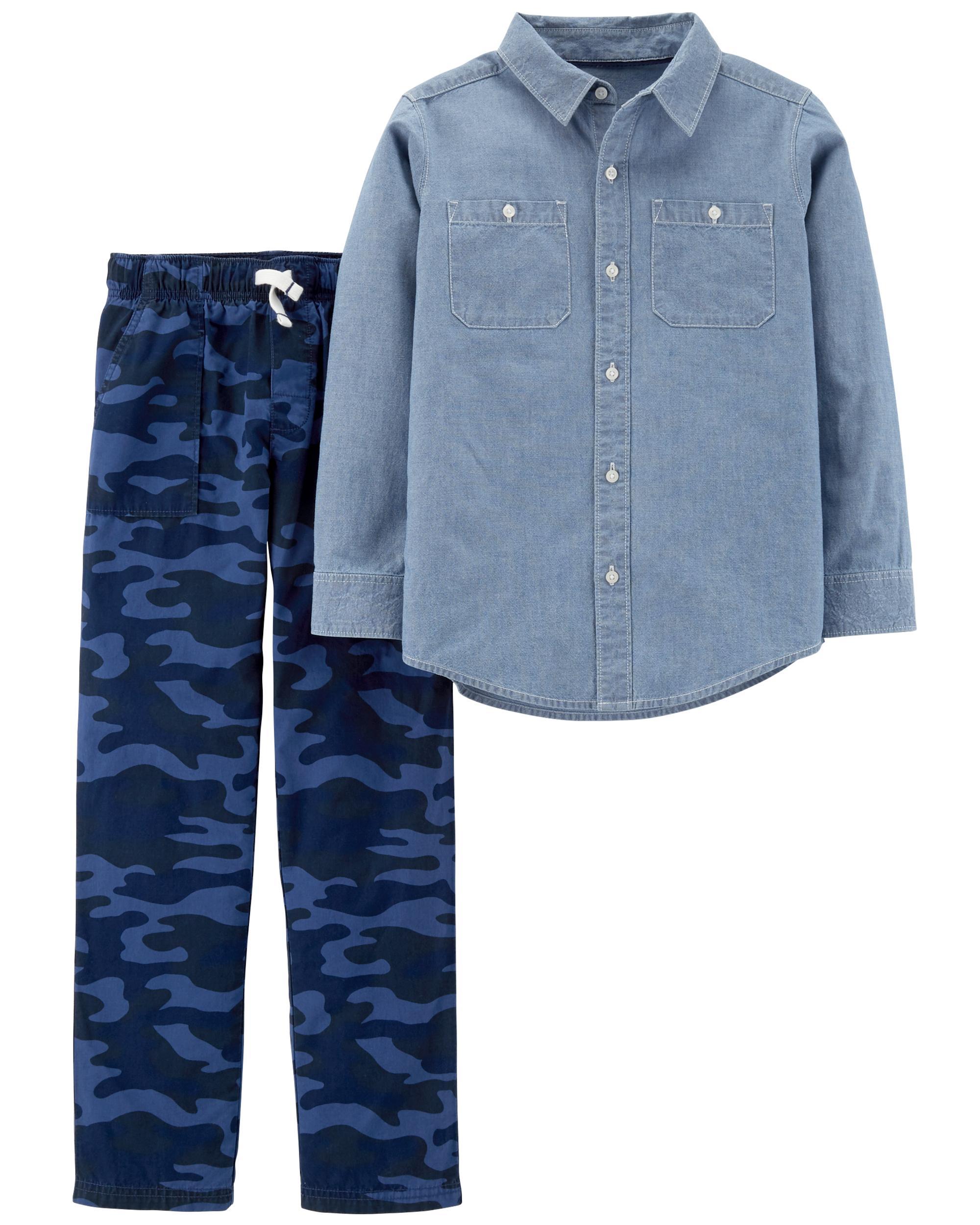 Newborn Baby Boys Handsome Camouflage Pocket Hoodie Tops Long Pants set