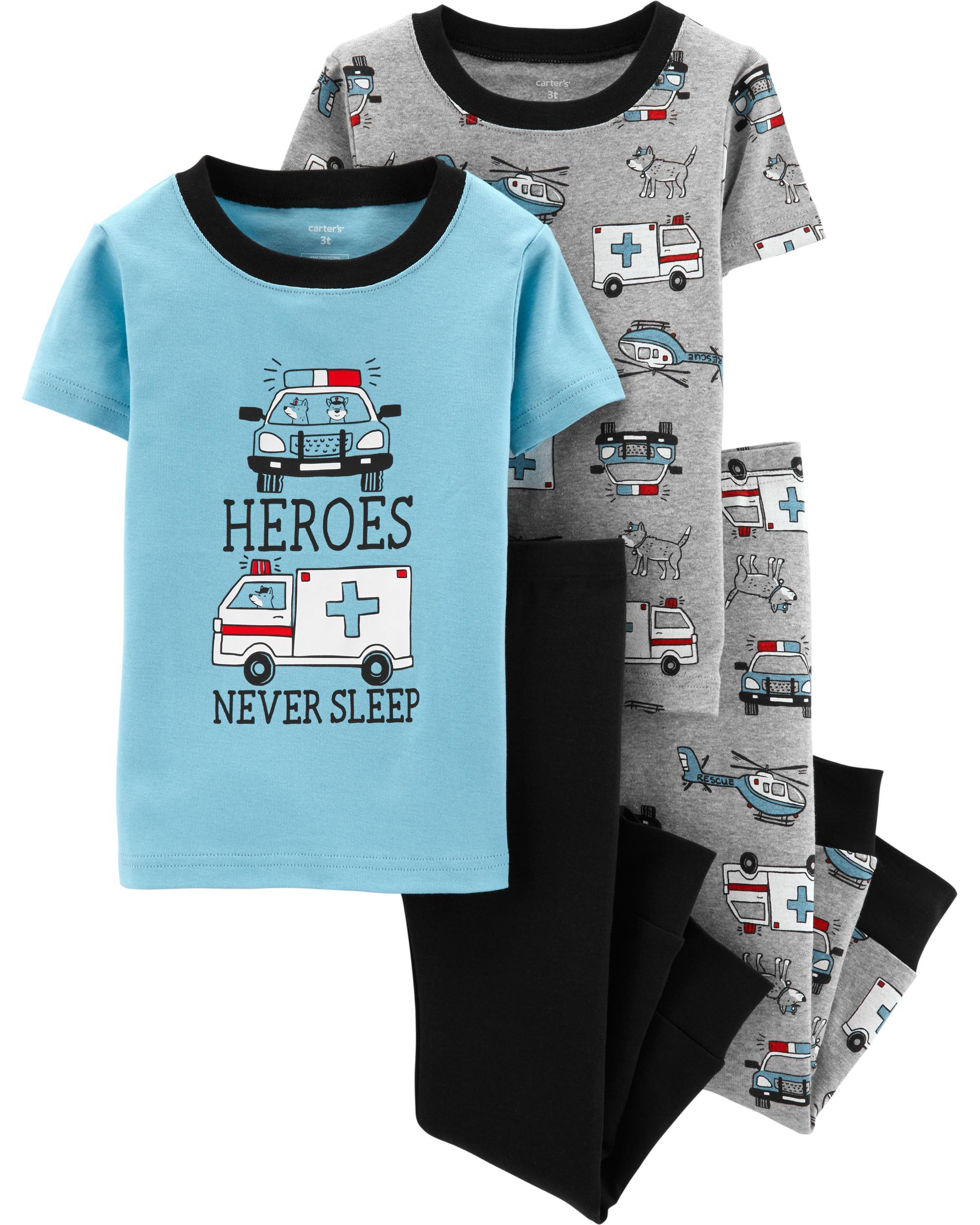 Carters Baby Boys 4 Piece Cotton Sleepwear