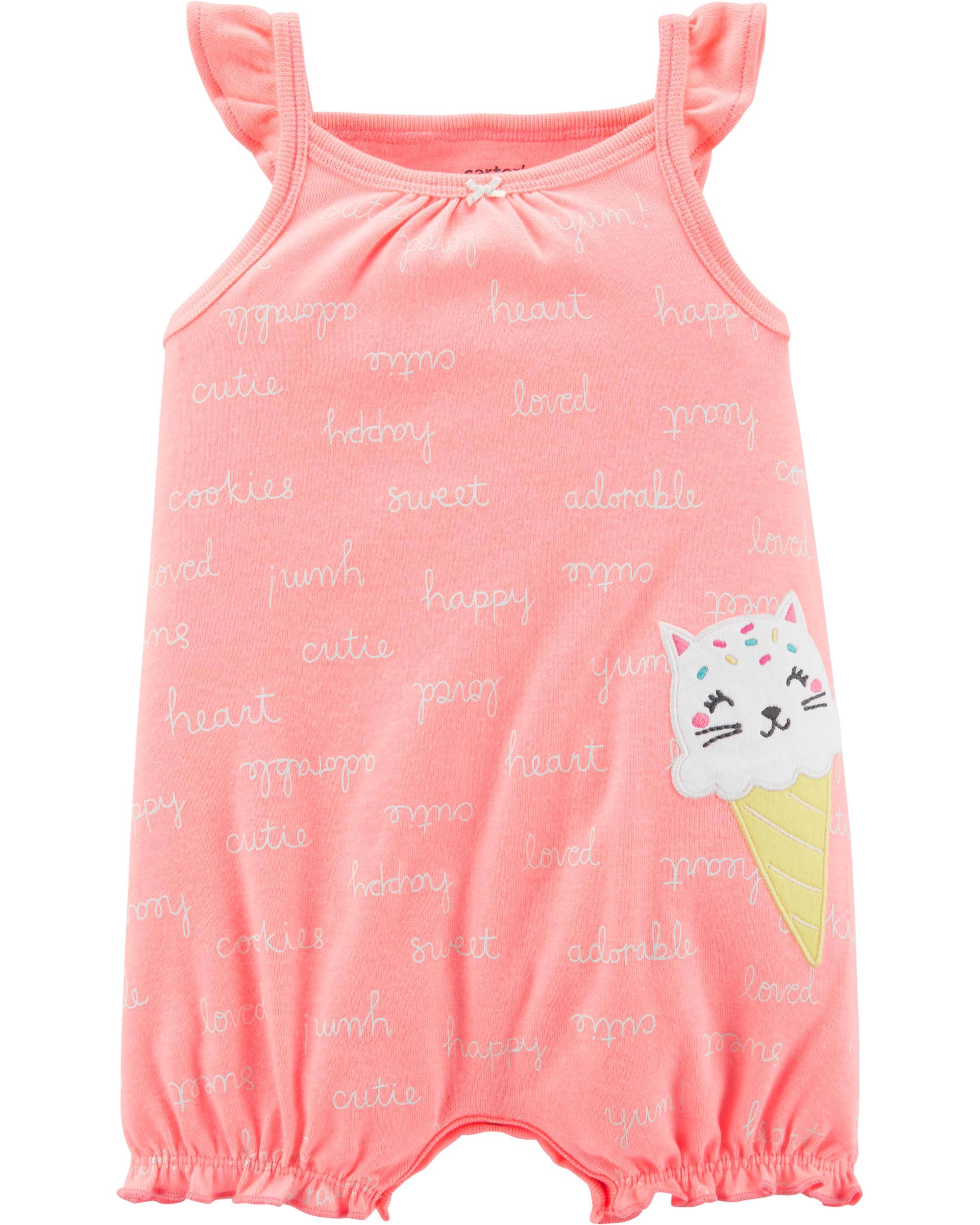5e8df79a09902 Neon Cat Ice Cream Bubble Romper | carters.com