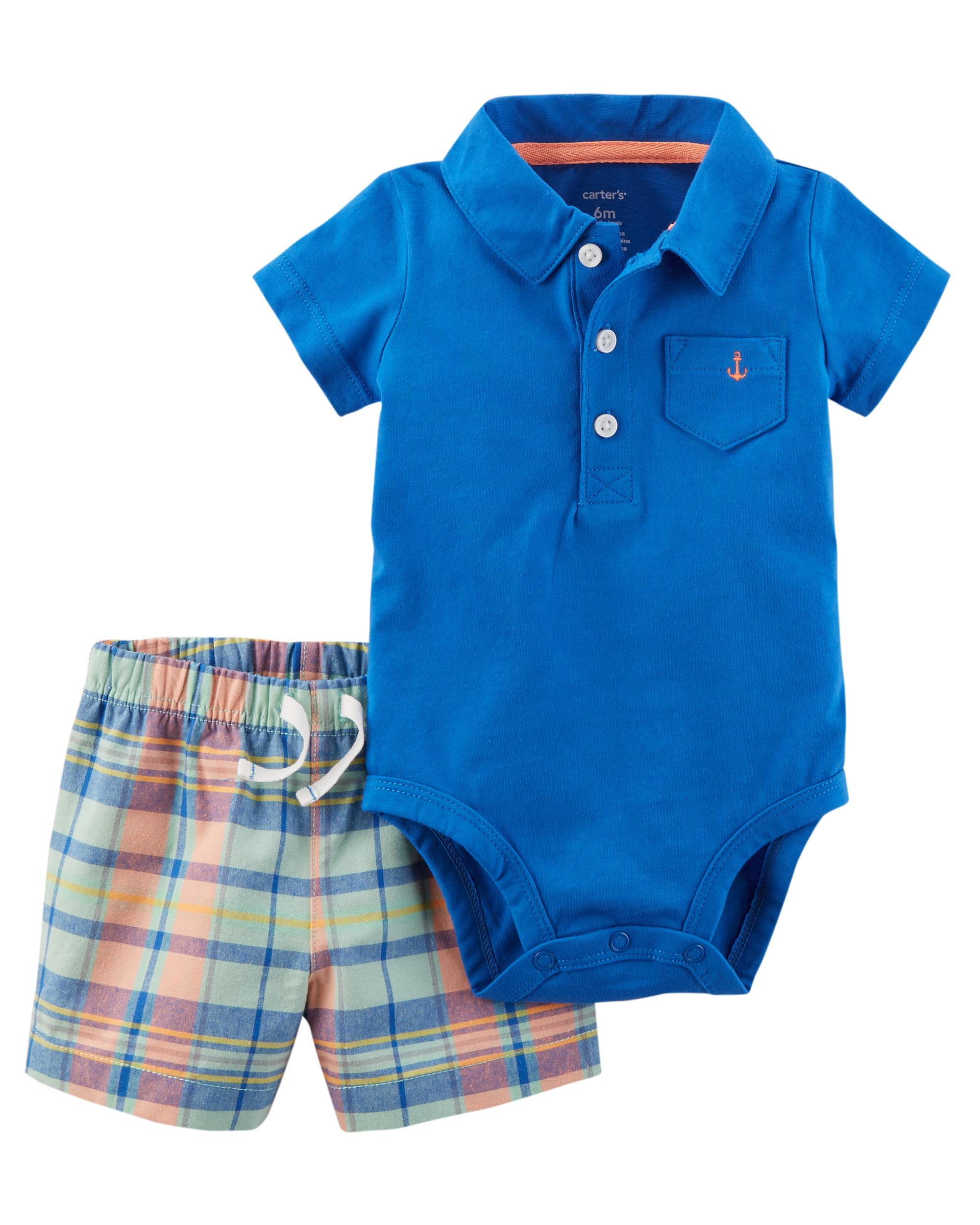 Carters Baby Boys 2-Piece Handsome Polo And Plaid Shorts Set