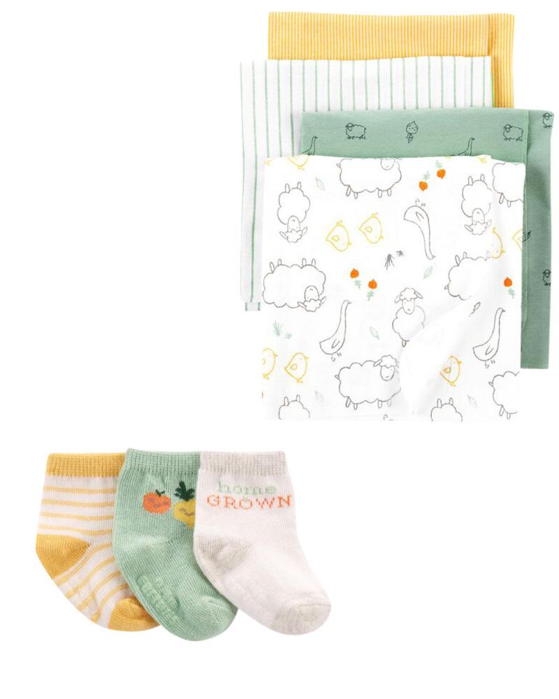 Carters 7-Pack Blanket & Sock Set