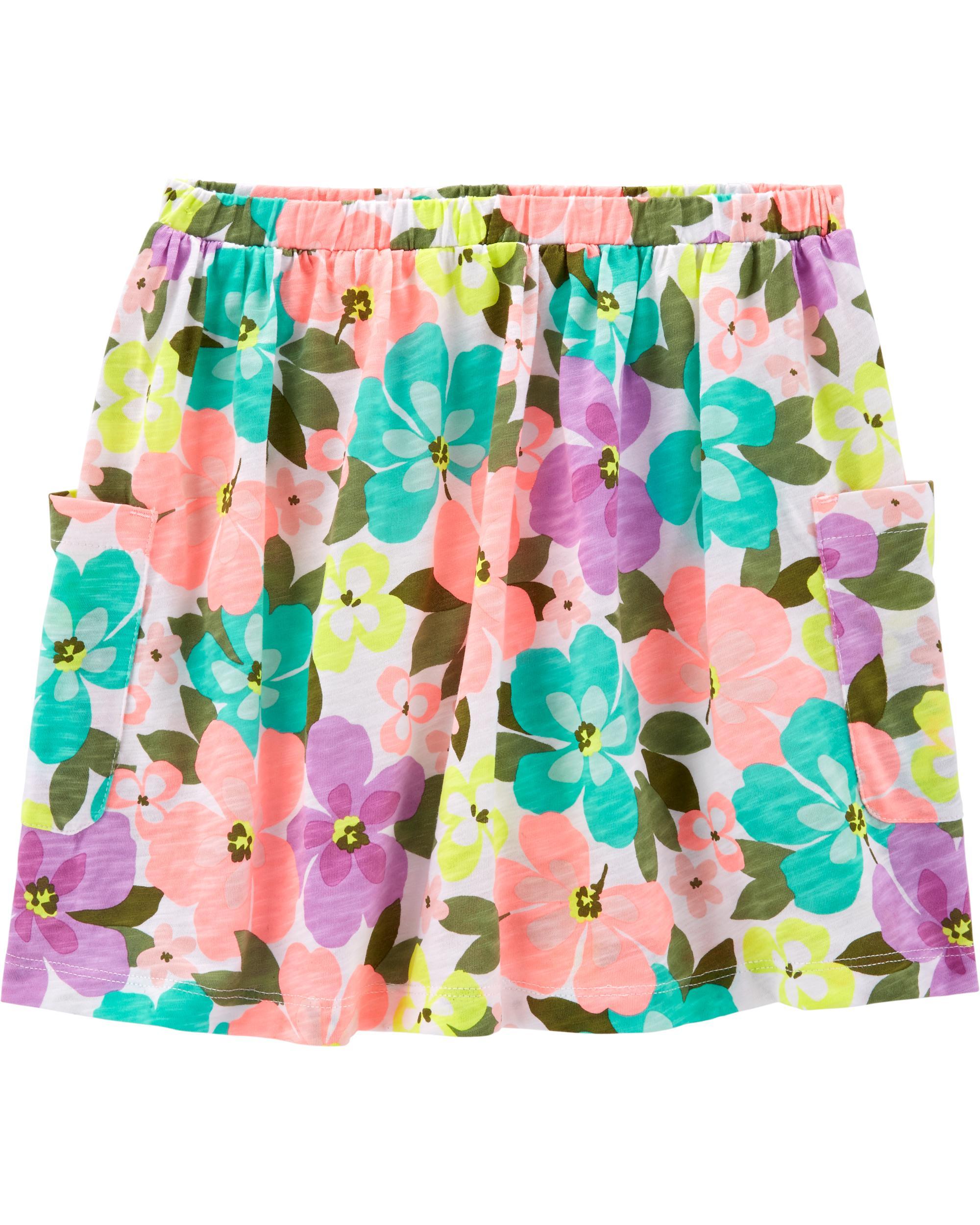 Carters Girls Floral Jersey Skort 3m Multi-Color