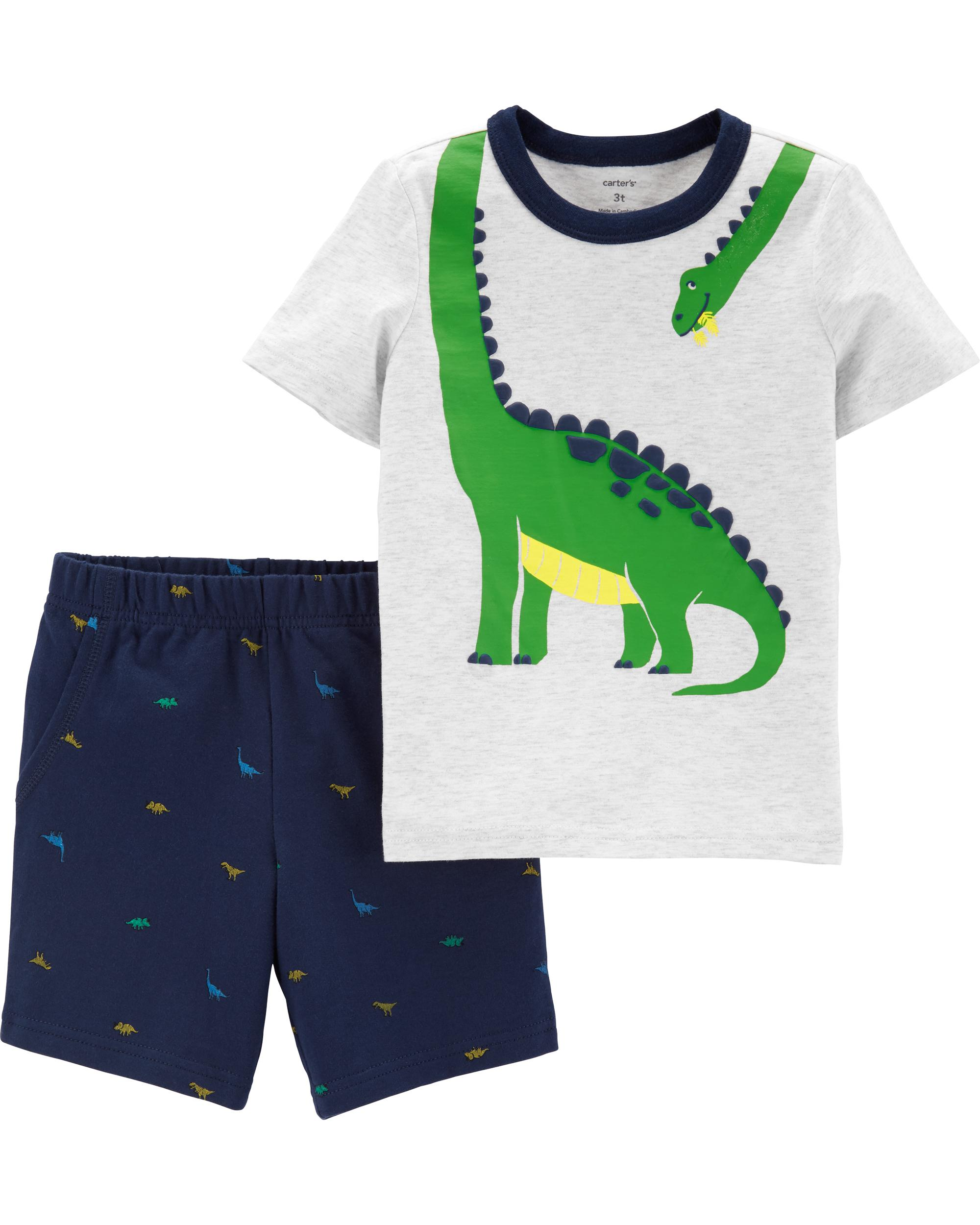 Carters 2-Piece Dinosaur Button-Front /& Canvas Short Set