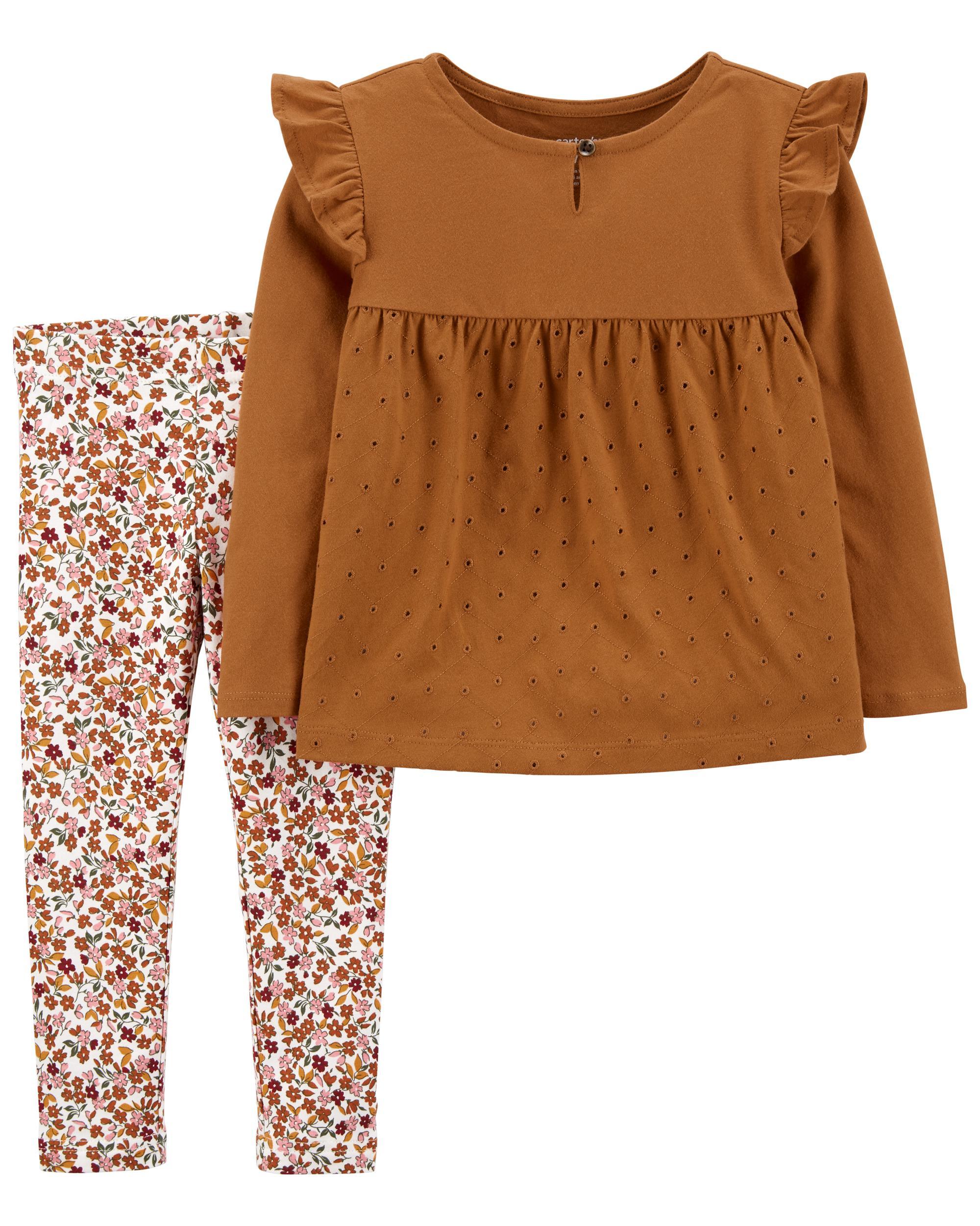 Carters 2-Piece Eyelet Jersey Top & Floral Leggings